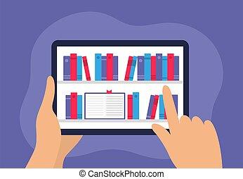 utilisé, numérique, mains, livre, choisir, humain, apps, bibliothèques, tablette, magasins, boîte, écoles, plat, électronique, e-commerce., pages, bibliothèque, être, e-book., ou, device., atterrissage, tenue, vecteur, beaucoup