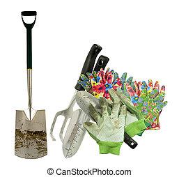utilisé, outils, gants, jardin
