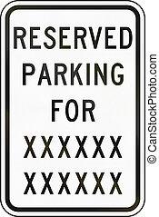 utilisé, réservé, delaware, -, nous, signe, état, stationnement, route