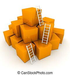 utilisé, sommet, -, trois, échelles, clair, boîtes, orange, tas, blanc, brillant, montée