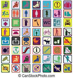 utilisé, transport, coloré, moyens, icônes, signes