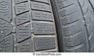 utilisé, vieux, pneus, porté