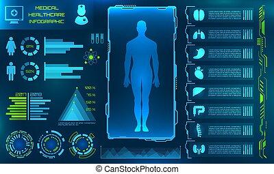 utilisateur, app., interface, ui, monde médical, infographic, futuriste, hud, éléments