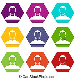 utilisateur, icône, ensemble, couleur, hexahedron
