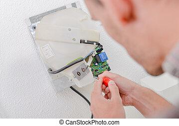 utilisation, électricien, tournevis