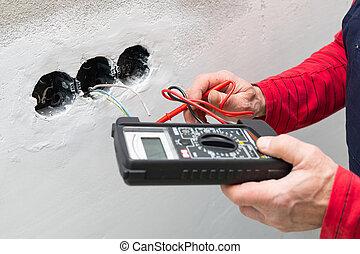 utilisation, électricien, voltmètre