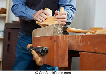utilisation, établi, bois, charpentier, planer