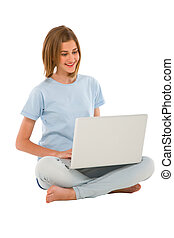 utilisation, adolescent, ordinateur portable, girl