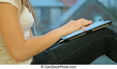 utilisation, adolescent, tablette, numérique