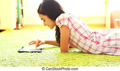 utilisation, adolescente, tablette, numérique