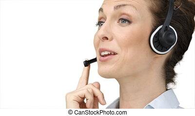 utilisation, affaires femme, casque à écouteurs