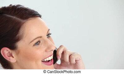 utilisation, affaires femme, cellphone