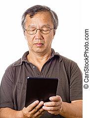 utilisation, asiatique, tablette, homme
