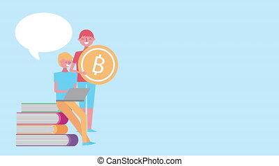 utilisation, bitcoin, jeune, ordinateur portable, hommes