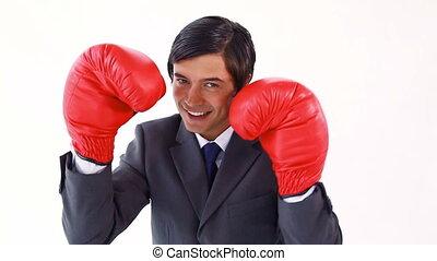 utilisation, boxe, cadre, gants, heureux