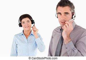 utilisation, bureau, ecouteurs, ouvriers