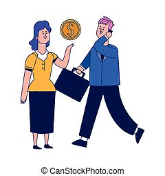 utilisation, cellphone, femme affaires, dessin animé, homme affaires