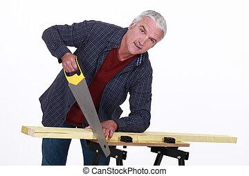 utilisation, charpentier, scie main