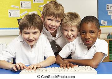 utilisation, classe, ordinateurs, il, écoliers