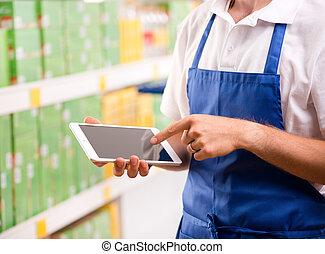utilisation, commis, ventes, tablette