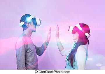 utilisation, communiquer, virtuel, headset., réalité, couple, amour