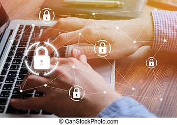 utilisation, concept, personnel, cyber, protection données, ordinateur portable