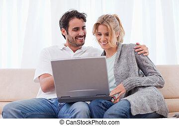 utilisation, couple, cahier
