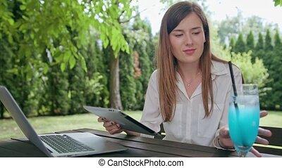 utilisation, dame, business, tablette