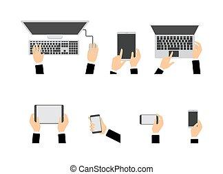 utilisation, différent, ensemble, appareils, mains