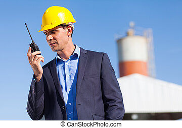 utilisation, directeur, construction, talkie, walkie