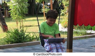 utilisation, enfant, tablette, numérique