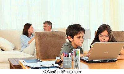 utilisation, enfants, informatique