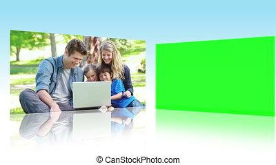 utilisation, enfants, parents, portables