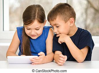 utilisation, enfants, tablette