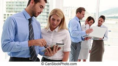 utilisation, equipe affaires, tablette