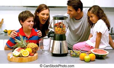 utilisation, famille, ensemble, mixer