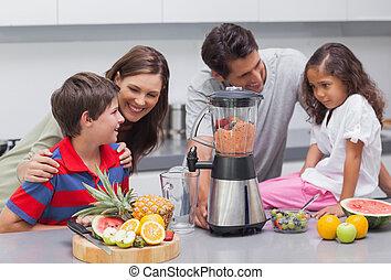 utilisation, famille, mixer