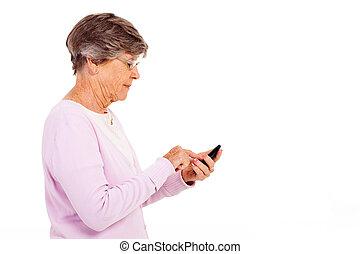 utilisation, femme aînée, intelligent, téléphone