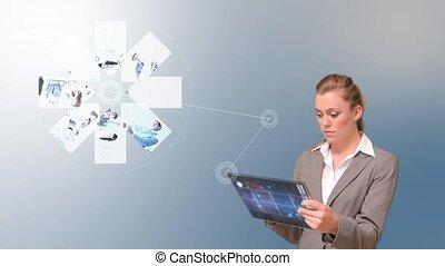 utilisation, femme affaires, tablette