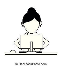 utilisation, femme, informatique