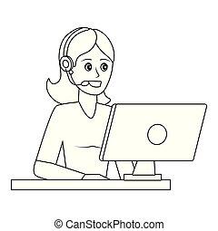 utilisation, femme, informatique, jeune, dessin animé