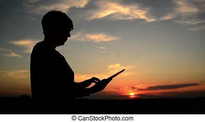 utilisation, femme, informatique, tablette, numérique
