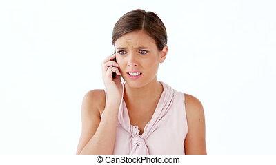 utilisation, femme, inquiété, elle, cellphone