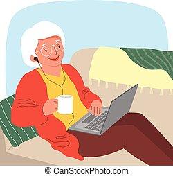 utilisation, femme, ordinateur portable, personne agee