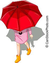 utilisation, femme, parapluie, topview