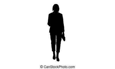 utilisation, femme, silhouette, quoique, personne agee, smartphone, intelligent, marche.