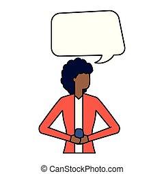 utilisation, femme, smartphone, bulle, parler