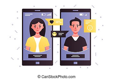utilisation, femme, smartphone, conversation, homme