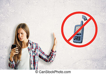 utilisation, femme, smartphone