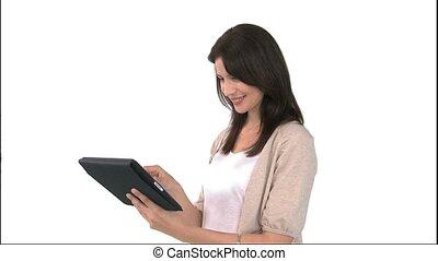 utilisation, femme souriante, informatique, tablette